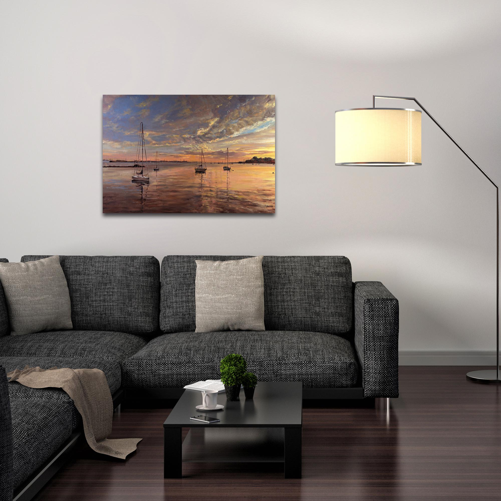 Coastal Wall Art 'Harbor 2' - Boats Decor on Metal or Plexiglass - Lifestyle View