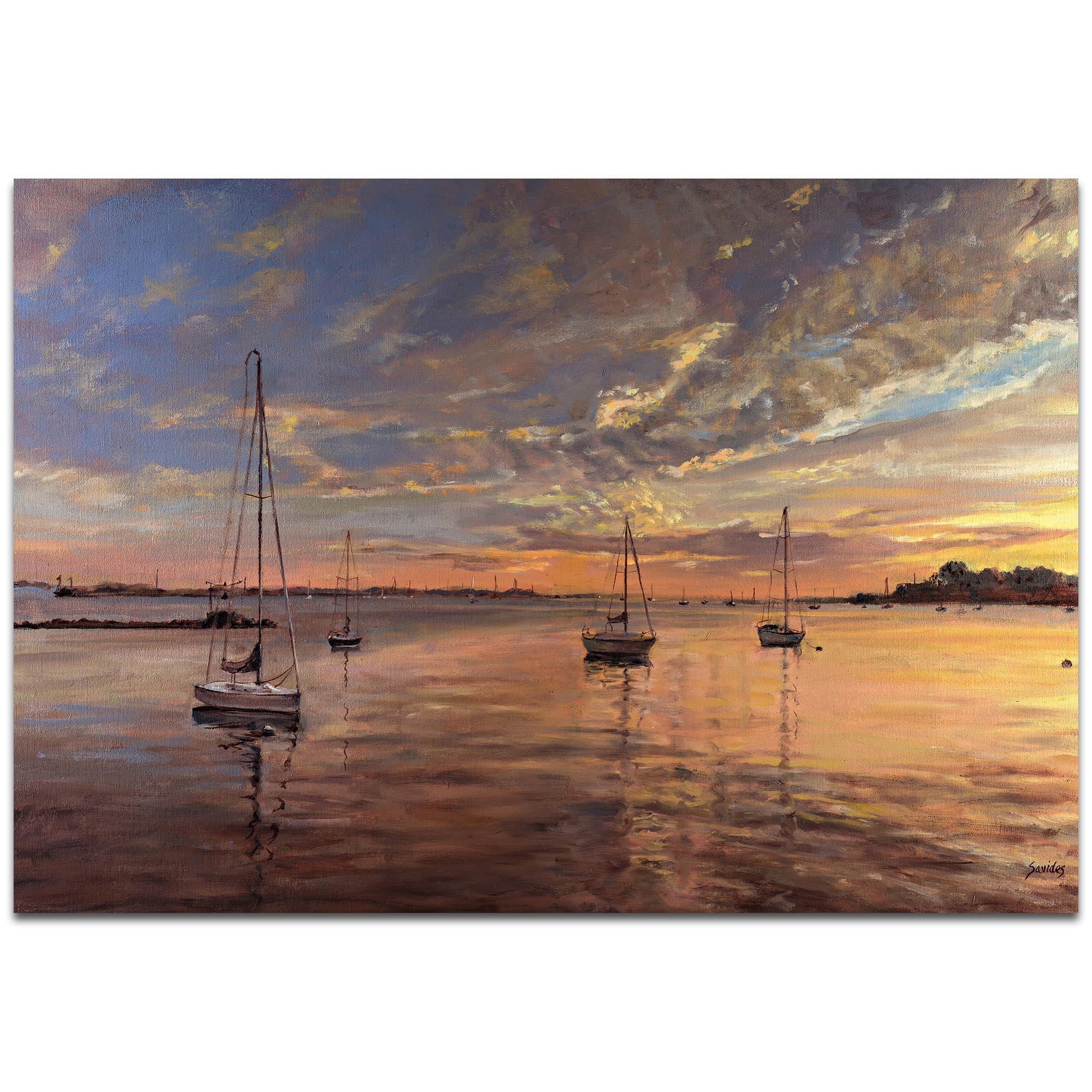 Coastal Wall Art 'Harbor 2' - Boats Decor on Metal or Plexiglass