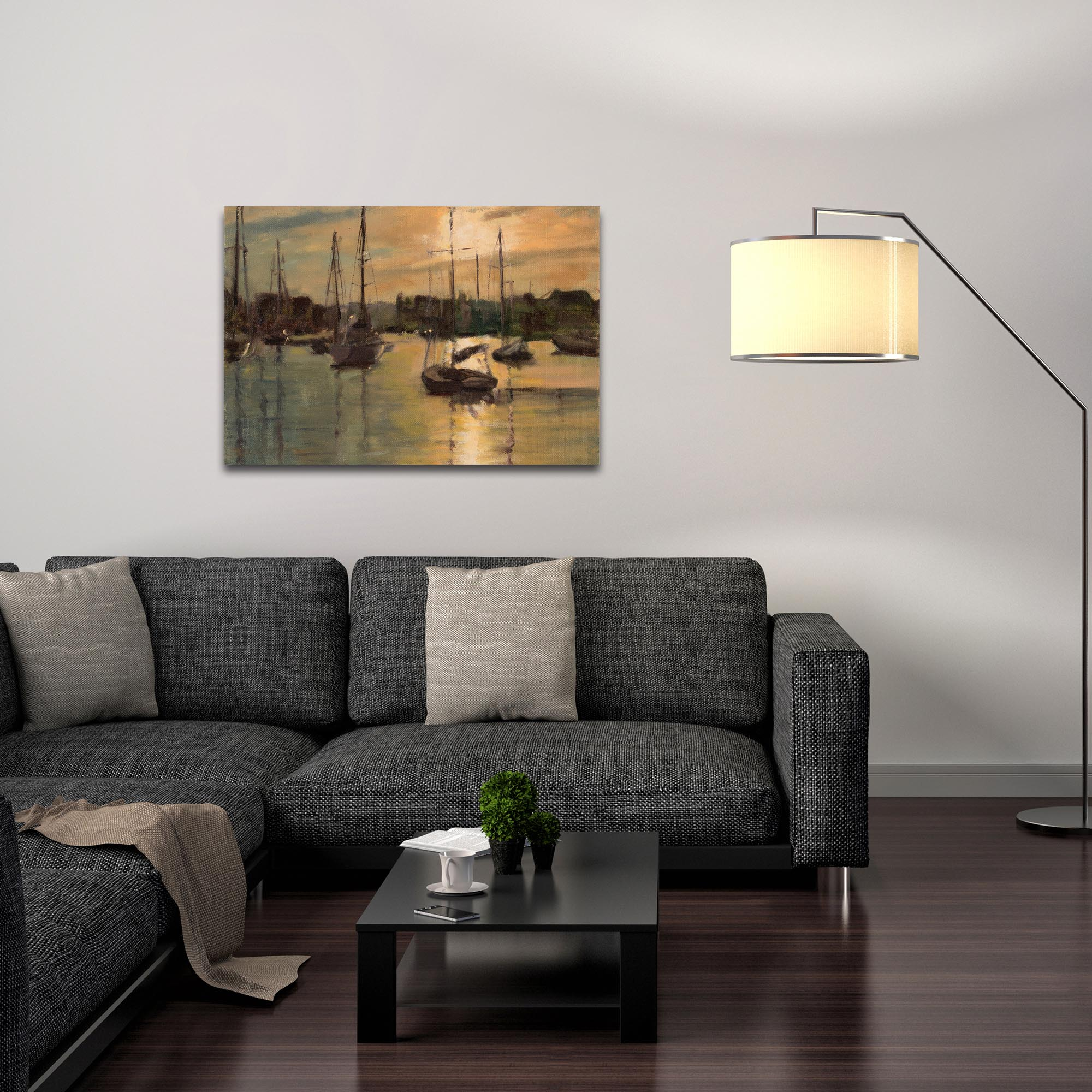 Coastal Wall Art 'Harbor 3' - Boats Decor on Metal or Plexiglass - Lifestyle View