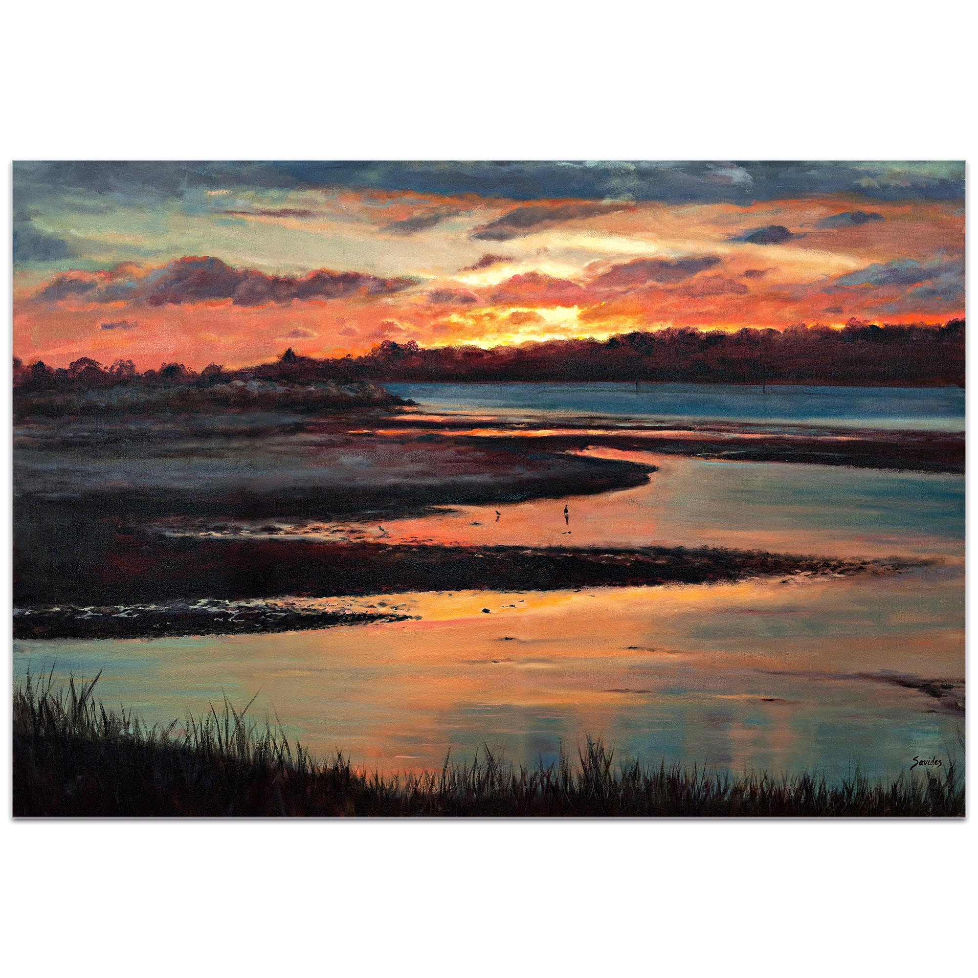 Traditional Wall Art 'Sunset' - River Landscape Decor on Metal or Plexiglass - Image 2
