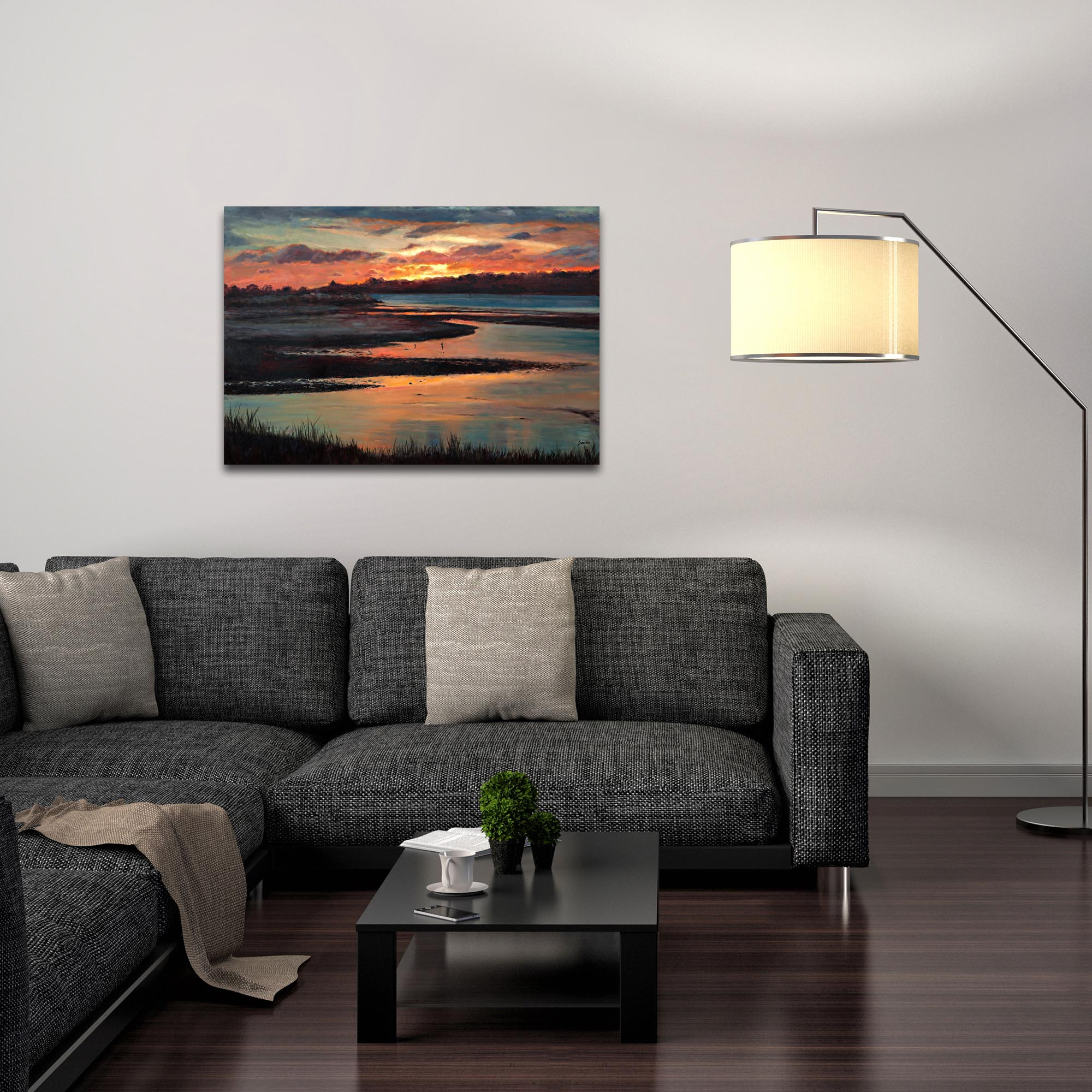 Traditional Wall Art 'Sunset' - River Landscape Decor on Metal or Plexiglass - Lifestyle View