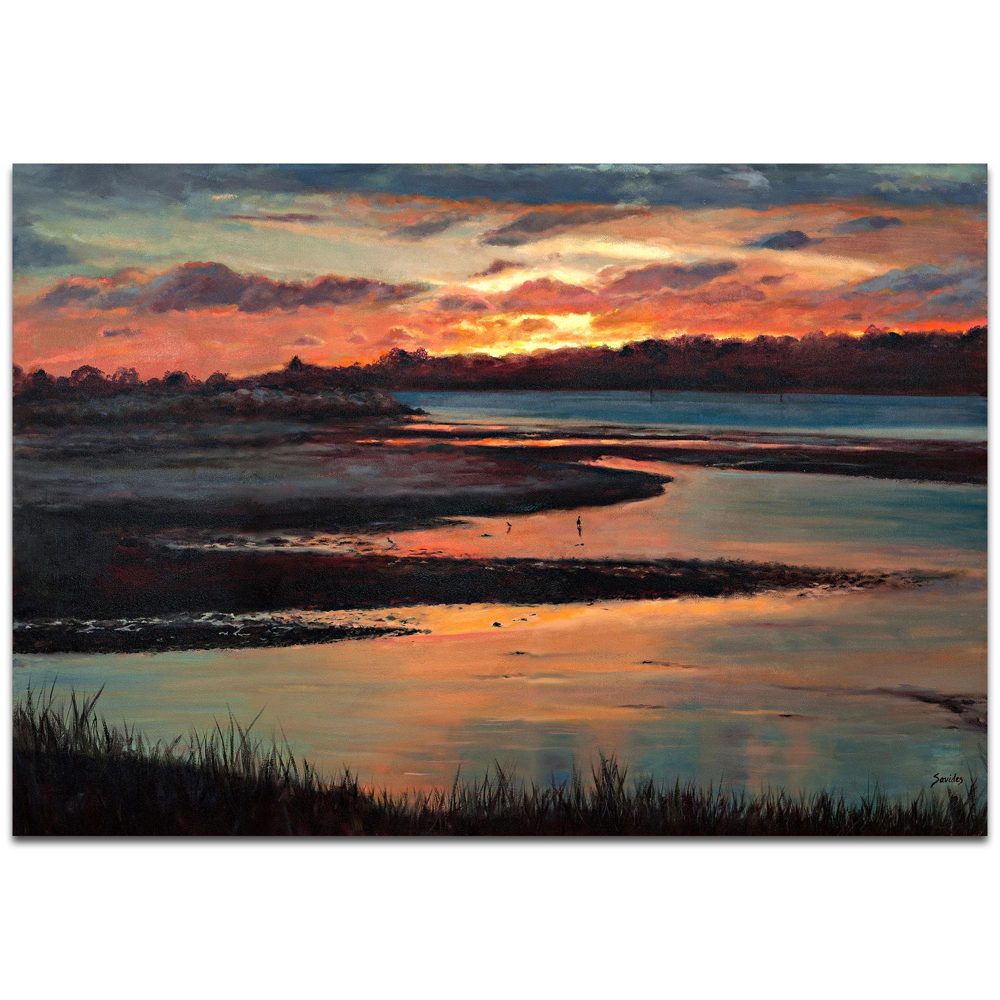 Traditional Wall Art 'Sunset' - River Landscape Decor on Metal or Plexiglass