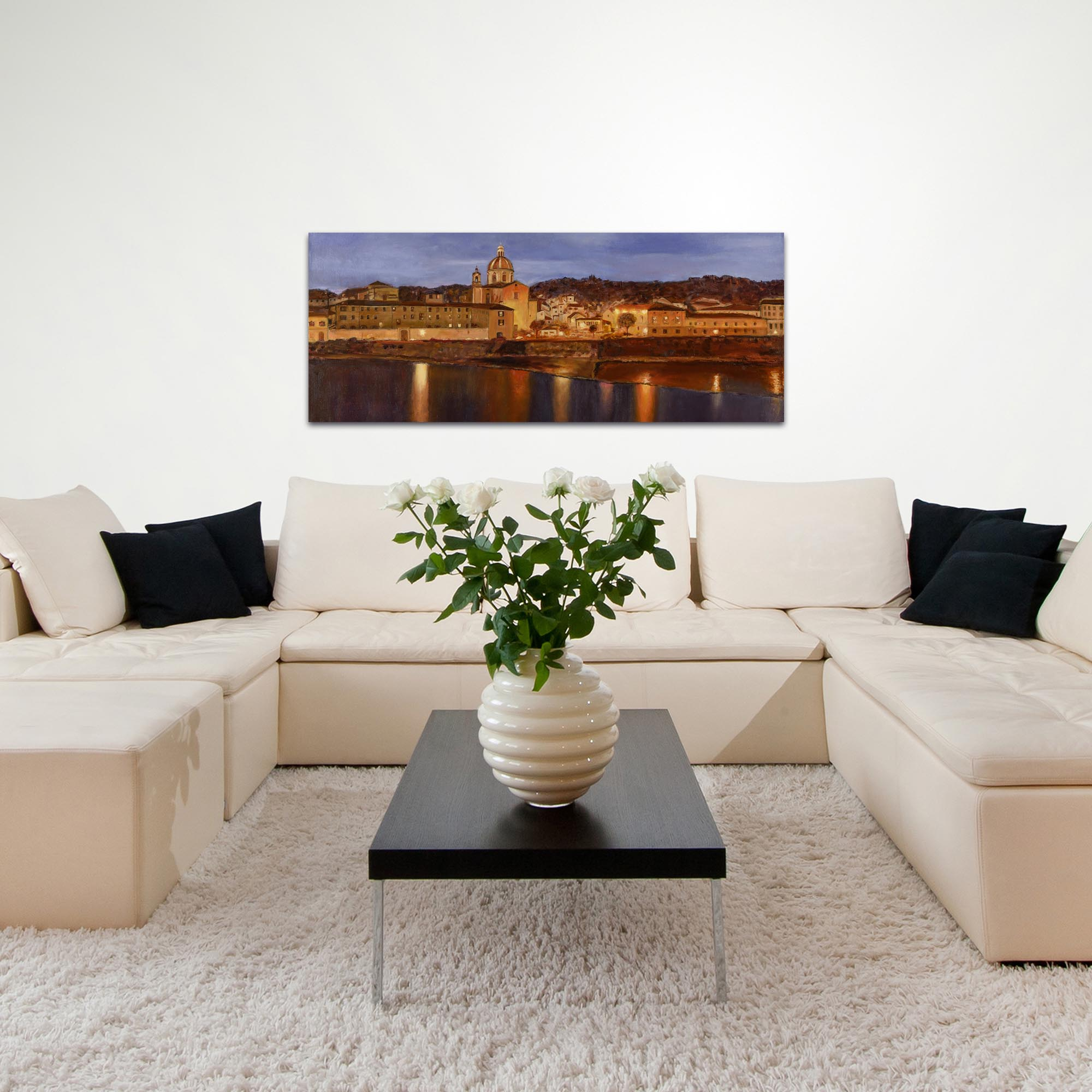 Traditional Wall Art 'Midnight in Florence' - Italian City Decor on Metal or Plexiglass - Lifestyle View