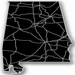 Alabama - Acrylic Cutout State Map - Black/Grey USA States Acrylic Art