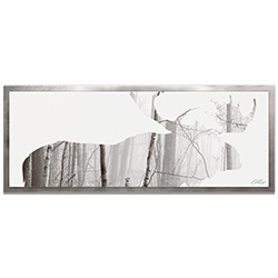 Adam Schwoeppe Moose Landscape Framed 48in x 19in Contemporary Animal Silhouette Art on Colored Metal