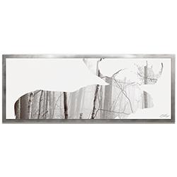 Adam Schwoeppe Moose Landscape Framed 48in x 19in Contemporary Animal Silhouette Art on Colored Metal