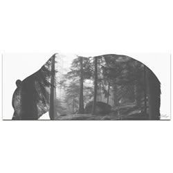 GRIZZLY BEAR FOREST - 48x19 in. Metal Animal Print