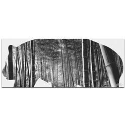 PANDA BEAR BAMBOO - 48x19 in. Metal Animal Print