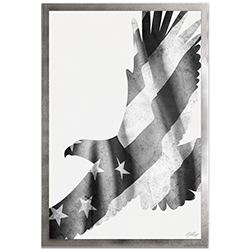 Adam Schwoeppe Freedom Eagle Black & White Framed 22in x 32in Patriotic US Flag Art on Colored Metal