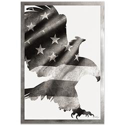 Adam Schwoeppe Patriot Eagle Black & White Framed 22in x 32in Patriotic US Flag Art on Colored Metal