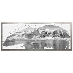 Adam Schwoeppe Polar Bear Arctic Gray Framed 48in x 19in Contemporary Animal Silhouette Art on Colored Metal