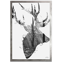 Adam Schwoeppe Forest Deer Gray Framed 22in x 32in Contemporary Animal Silhouette Art on Colored Metal