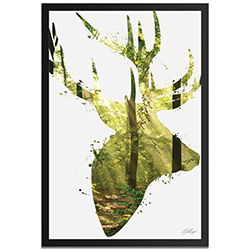 Adam Schwoeppe Forest Deer Framed 22in x 32in Contemporary Animal Silhouette Art on Colored Metal