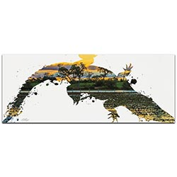 Alligator Swamp by Adam Schwoeppe Animal Silhouette on White Metal