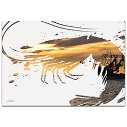 Shrimp Boat by Adam Schwoeppe Animal Silhouette on White Metal