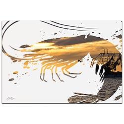 Shrimp Boat by Adam Schwoeppe Animal Silhouette on White Metal