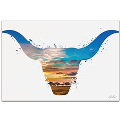 Longhorn Sky by Adam Schwoeppe Animal Silhouette on White Metal
