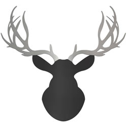 URBAN BUCK - 36x36 in. Black & Silver Deer Cut-Out