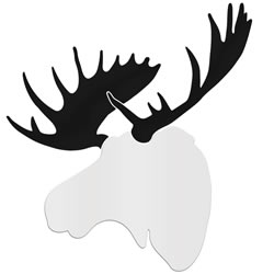 CONTEMPORARY MOOSE - 36x36 in. White & Black D?cor