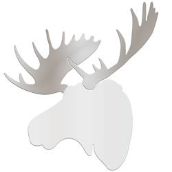 REGAL MOOSE - 36x36 in. White & Silver Decor