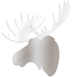 WINTER MOOSE - 36x36 in. Silver & White Decor