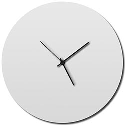 Whiteout Circle Clock by Adam Schwoeppe - Minimalist Modern White Metal Clock