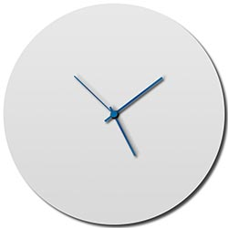 Whiteout Circle Clock Large by Adam Schwoeppe - Minimalist Modern White Metal Clock
