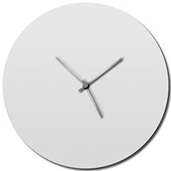 Adam Schwoeppe Whiteout Silver Circle Clock Midcentury Modern Style Wall Clock