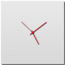Whiteout Square Clock Large by Adam Schwoeppe - Minimalist Modern White Metal Clock