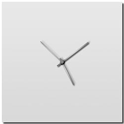 Adam Schwoeppe Whiteout Silver Square Clock Large Midcentury Modern Style Wall Clock