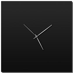 Adam Schwoeppe Blackout Silver Square Clock Large Midcentury Modern Style Wall Clock
