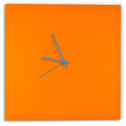 Orangeout Square Clock Large by Adam Schwoeppe - Minimalist Orange Metal Wall Clock