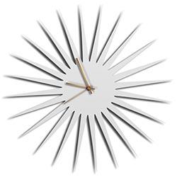 Adam Schwoeppe MCM Starburst Clock White Bronze Midcentury Modern Style Wall Clock