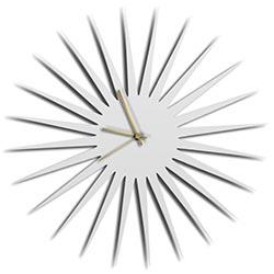 Adam Schwoeppe MCM Starburst Clock White Gold Midcentury Modern Style Wall Clock