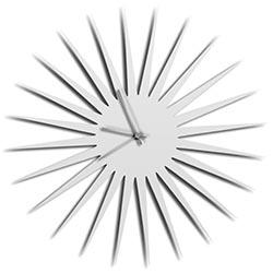 Adam Schwoeppe MCM Starburst Clock White Silver Midcentury Modern Style Wall Clock
