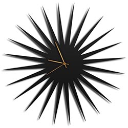 Adam Schwoeppe MCM Starburst Clock Black Bronze Midcentury Modern Style Wall Clock