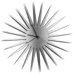 Adam Schwoeppe MCM Starburst Clock Silver Black Midcentury Modern Style Wall Clock