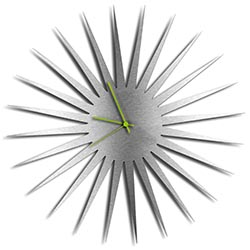 Adam Schwoeppe MCM Starburst Clock Silver Green Midcentury Modern Style Wall Clock