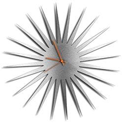 Adam Schwoeppe MCM Starburst Clock Silver Orange Midcentury Modern Style Wall Clock