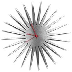 Adam Schwoeppe MCM Starburst Clock Silver Red Midcentury Modern Style Wall Clock