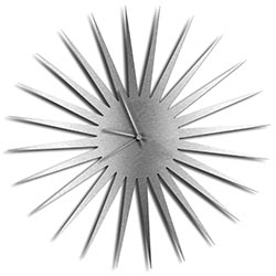 Adam Schwoeppe MCM Starburst Clock Silver Silver Midcentury Modern Style Wall Clock
