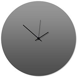 Grayout Black Circle Clock Large 23x23in. Aluminum Polymetal