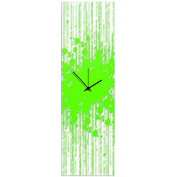Green Paint Splatter Clock 9x30in. Plexiglass