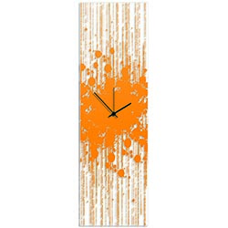 Orange Paint Splatter Clock 9x30in. Plexiglass