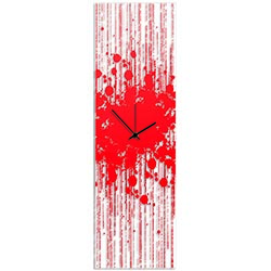 Red Paint Splatter Clock 9x30in. Plexiglass