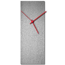 Adam Schwoeppe Silversmith Clock Red Midcentury Modern Style Wall Clock