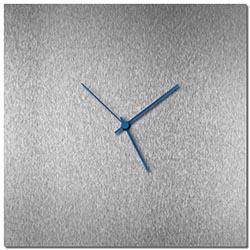 Adam Schwoeppe Silversmith Square Clock Blue Midcentury Modern Style Wall Clock
