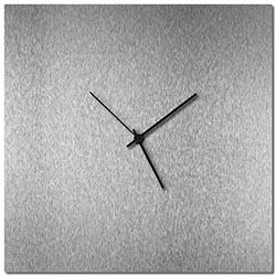 Adam Schwoeppe Silversmith Square Clock Large Black Midcentury Modern Style Wall Clock