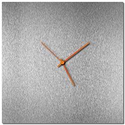 Adam Schwoeppe Silversmith Square Clock Large Orange Midcentury Modern Style Wall Clock