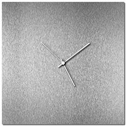 Adam Schwoeppe Silversmith Square Clock Large White Midcentury Modern Style Wall Clock